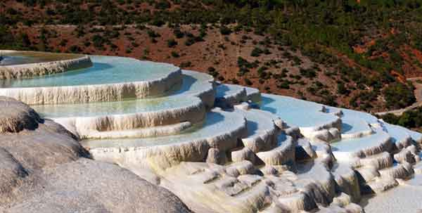 The white water terraces - also known as the Marble terraces - in Shangri-La